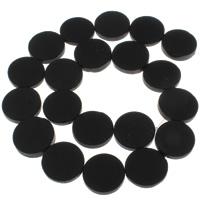 Natürliche schwarze Achat Perlen, Schwarzer Achat, flache Runde, 20x5mm, Bohrung:ca. 1mm, ca. 20PCs/Strang, verkauft per ca. 15.5 ZollInch Strang