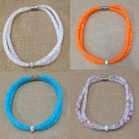 Mesh Stardust Halskette, Zinklegierung, mit Ton & Kunststoff Netz & Harz Strass, rund, Platinfarbe platiniert, für Frau, keine, frei von Nickel, Blei & Kadmium, verkauft per ca. 18 ZollInch Strang