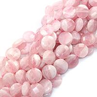 Natürliche Rosenquarz Perlen, Madagaskar Rosenquarz, flache Runde, verschiedene Größen vorhanden & facettierte, Bohrung:ca. 0.5-1mm, verkauft per ca. 16 ZollInch Strang