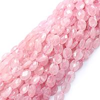 Natürliche Rosenquarz Perlen, Madagaskar Rosenquarz, flachoval, verschiedene Größen vorhanden & facettierte, Bohrung:ca. 0.5-1mm, verkauft per ca. 16 ZollInch Strang