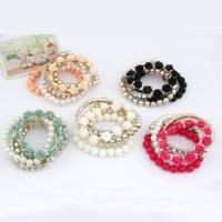 Mode Armband, Harz, mit Zinklegierung, goldfarben plattiert, elastisch & für Frau & mit Strass, keine, Länge:ca. 6.7 ZollInch, 5SträngeStrang/setzen, verkauft von setzen