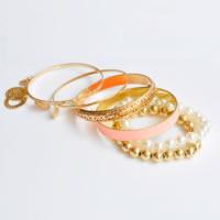 Zinklegierung Schmucksets, Armreif & Armband, mit Harz-Perle, Zinklegierung Magnetverschluss, goldfarben plattiert, für Frau & Emaille, keine, Länge:ca. 7.8 ZollInch, 6PCs/setzen, verkauft von setzen