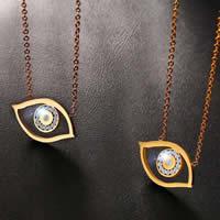 Evil Eye Schmuck Halskette, Edelstahl, blöser Blick, plattiert, Oval-Kette & für Frau & mit Strass, keine, 24x14mm, verkauft per ca. 16.5 ZollInch Strang