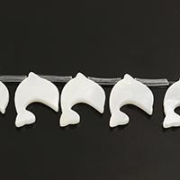 Natürliche weiße Muschelperlen, Dolphin, 14x15x2mm, Bohrung:ca. 0.8mm, ca. 20PCs/Strang, verkauft per ca. 10 ZollInch Strang