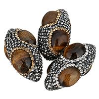 Tigerauge Perlen, Lehm pflastern, mit Tigerauge, oval, mit Strass, keine, 20x37x20mm, Bohrung:ca. 1mm, 10PCs/Tasche, verkauft von Tasche