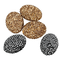 Strass Ton befestigte Perlen, Lehm pflastern, oval, mit Strass, keine, 18x24x25mm, Bohrung:ca. 1mm, 10PCs/Tasche, verkauft von Tasche