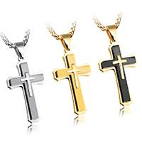 Männer Halskette, Edelstahl, Kreuz, plattiert, Kastenkette & für den Menschen, keine, 53x30mm, verkauft per ca. 21.6 ZollInch Strang