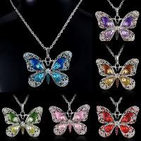 Kristall Halskette, Zinklegierung, mit Kristall, Schmetterling, Platinfarbe platiniert, Seil-Kette & für Frau & Emaille & mit Strass & hohl, keine, frei von Nickel, Blei & Kadmium, 42x57mm, verkauft per ca. 18 ZollInch Strang