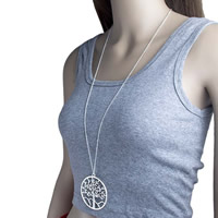 Zinklegierung Pullover Halskette, mit Messingkette, Baum, plattiert, Twist oval & für Frau, frei von Nickel, Blei & Kadmium, 57mm, verkauft per ca. 35 ZollInch Strang