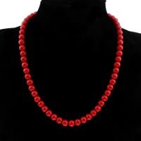 Koralle Halskette, Synthetische Koralle, rund, verschiedene Größen vorhanden & für Frau, verkauft per ca. 17.5 ZollInch Strang