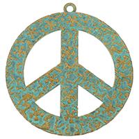 Zinklegierung Frieden Anhänger, Frieden Logo, frei von Nickel, Blei & Kadmium, 44x48x1mm, Bohrung:ca. 2mm, 100PCs/Menge, verkauft von Menge