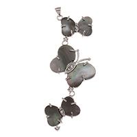 Natürliche schwarze Muschel Anhänger, Zinklegierung, mit Schwarze Muschel, Schmetterling, Platinfarbe platiniert, mit Strass, frei von Blei & Kadmium, 25x68x4mm, Bohrung:ca. 2x3mm, verkauft von PC
