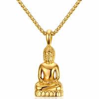 Buddhische Schmuck Anhänger, Edelstahl, Buddha, goldfarben plattiert, buddhistischer Schmuck & für den Menschen, 22.50x52mm, Bohrung:ca. 3x4mm, verkauft von PC