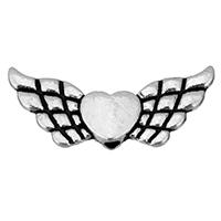 Zinklegierung Herz Perlen, Geflügelte Herzen, antik silberfarben plattiert, frei von Nickel, Blei & Kadmium, 21x9x3mm, Bohrung:ca. 1.5mm, 1500PCs/Menge, verkauft von Menge