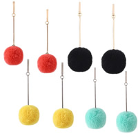 Messing Tropfen Ohrring, mit Plüsch, Messing Stecker, rund, plattiert, für Frau, keine, frei von Nickel, Blei & Kadmium, 25x70mm, verkauft von Paar