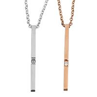 Unisex Halskette, Edelstahl, Rechteck, plattiert, Oval-Kette & mit Strass, keine, 2x30mm, 1.5mm, verkauft per ca. 18 ZollInch Strang