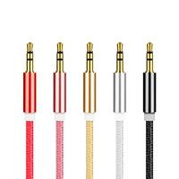 Nylonschnur Audio-Kabel, mit Zinklegierung, plattiert, Für 3.5mm Computerschnittstellengerät & Für Mobiltelefon, keine, 1000mm, verkauft von Strang