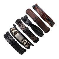 PU Leder Armband-Set, mit Gewachste Nylonschnur & Kuhhaut & Zinklegierung, Platinfarbe platiniert, einstellbar & für den Menschen, Länge:ca. 7-7.8 ZollInch, 6SträngeStrang/setzen, verkauft von setzen