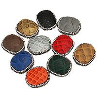 Strass Zinklegierung Perlen, Schlangenleder, mit Ton, Rechteck, plattiert, keine, 23x28x11mm, Bohrung:ca. 2mm, 10PCs/Menge, verkauft von Menge