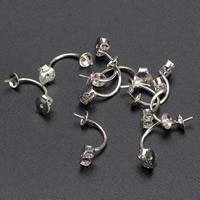 925 Sterling Silber Ohrring Stecker, Edelstahl Stecker, silberfarben plattiert, 14mm, verkauft von Paar