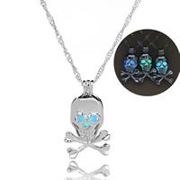 Beleuchtetem Halskette, Zinklegierung, mit Eisenkette, Schädel, Platinfarbe platiniert, für Frau & glänzend, keine, frei von Blei & Kadmium, 27x15mm, verkauft per ca. 17.5 ZollInch Strang