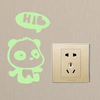 Lichtschalter Aufkleber, PVC Kunststoff, Panda, Klebstoff & mit Brief Muster & glänzend, 90x160mm, verkauft von PC
