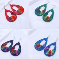 Holz Ohrring, mit Nylonschnur & Zinklegierung, Eisen Haken, gefärbt & für Frau, keine, 78x48mm, verkauft von Paar