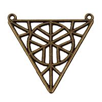Zinklegierung hohle Anhänger, Dreieck, antike Bronzefarbe plattiert, Doppelloch, frei von Nickel, Blei & Kadmium, 34x32x1mm, Bohrung:ca. 1.5mm, 250PCs/Tasche, verkauft von Tasche
