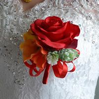 Stoff Kunstblume, Hochzeitsgeschenk, rot, 100x100mm, verkauft von PC