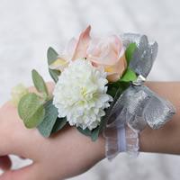 Braut Armband, Stoff, Blume, Hochzeitsgeschenk, 100x100mm, 2PCs/Tasche, verkauft von Tasche
