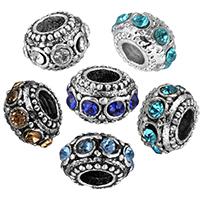 Zink Legierung Europa Perlen, Zinklegierung, Rondell, antik silberfarben plattiert, ohne troll & mit Strass, keine, frei von Nickel, Blei & Kadmium, 11mm, Bohrung:ca. 5mm, verkauft von PC