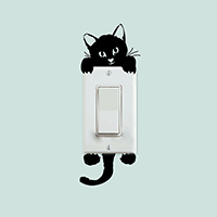 Lichtschalter Aufkleber, PVC Kunststoff, Katze, Klebstoff & 3D & wasserdicht, schwarz, 140x60mm, verkauft von setzen