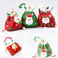 Weihnachtsgeschenkbeutel, Nichtgewebte Stoffe, mit Plüsch & Nylonschnur, Weihnachtsschmuck & verschiedene Stile für Wahl, 200x360mm, verkauft von PC