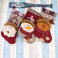 Weihnachtsferien Strümpfe Geschenk Socken, Stoff, mit Plüsch, Weihnachtssocke, Weihnachtsschmuck & verschiedene Stile für Wahl, 440x230x250mm, verkauft von PC