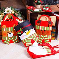 Weihnachtsgeschenkbeutel, Nichtgewebte Stoffe, mit Plüsch, Weihnachtsschmuck & verschiedene Stile für Wahl, 400x210mm, verkauft von PC