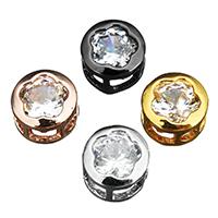 Kubischer Zirkonia Messing Perlen, plattiert, Mehrloch- & mit kubischem Zirkonia, keine, 8x8x5mm, Bohrung:ca. 2mm, 100PCs/Menge, verkauft von Menge