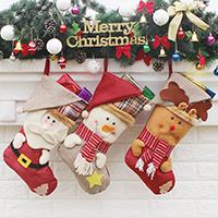 Weihnachtsferien Strümpfe Geschenk Socken, Nichtgewebte Stoffe, mit Baumwollgewebe & Plüsch, Weihnachtssocke, Weihnachtsschmuck & verschiedene Stile für Wahl, 235x450x265mm, verkauft von PC