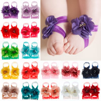Baby Barefoot Sandalen, Satinband, mit Chiffon & Kunststoff Perlen, Blume, elastisch & für Kinder & mit Strass, keine, 50mm, verkauft von Paar
