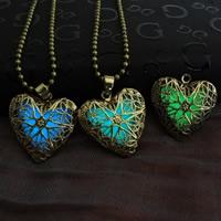 Beleuchtetem Halskette, Messing, mit Verlängerungskettchen von 5cm, Herz, antike Bronzefarbe plattiert, Kugelkette & für Frau & glänzend & hohl, keine, frei von Nickel, Blei & Kadmium, 24x24mm, verkauft per ca. 23.5 ZollInch Strang