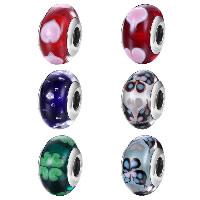 kommen on® Schmuck Beads, Glas, Rondell, verschiedene Verpackungs Art für Wahl & verschiedene Muster für Wahl & Sterling Silber single-Core ohne troll, 9x15mm, Bohrung:ca. 4.5-5mm, verkauft von PC