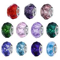 kommen on® Schmuck Beads, Glas, Rondell, Sterling Silber-Dual-Core ohne troll & facettierte, keine, 10x14mm, Bohrung:ca. 4.5-5mm, verkauft von PC