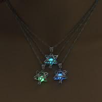 Beleuchtetem Halskette, Zinklegierung, mit Eisenkette, Hexagram, Platinfarbe platiniert, für Frau & glänzend & hohl, keine, frei von Blei & Kadmium, 20x34mm, verkauft per ca. 17.5 ZollInch Strang
