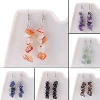 Edelstein Ohrringe, mit Zinklegierung, Eisen Haken, verschiedenen Materialien für die Wahl & für Frau, 60mm, verkauft von Paar