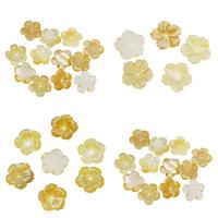 Natürliche gelbe Muschelperlen, Blume, verschiedene Stile für Wahl, 15x2mm, Bohrung:ca. 1mm, 10PCs/Tasche, verkauft von Tasche