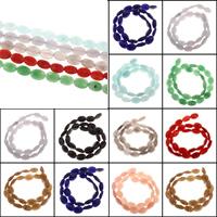 gefärbter Marmor Perle, oval, keine, 10x14x5mm, Bohrung:ca. 1mm, Länge:ca. 15.5 ZollInch, 5SträngeStrang/Tasche, ca. 27PCs/Strang, verkauft von Tasche