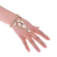 Zink-Legierung Armband-Ring, Zinklegierung, mit Kristall, mit Verlängerungskettchen von 3.1lnch, plattiert, für Frau & Emaille & mit Strass, keine, frei von Nickel, Blei & Kadmium, 120mm, 80mm, verkauft per ca. 6.3 ZollInch Strang