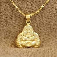 Buddhische Schmuck Anhänger, Messing, Buddha, 24 K vergoldet, buddhistischer Schmuck, frei von Nickel, Blei & Kadmium, 21x18x7mm, Bohrung:ca. 2-5mm, verkauft von PC