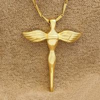 Messing Kreuz Anhänger, Engelsflügel Kreuz, 24 K vergoldet, frei von Nickel, Blei & Kadmium, 29x36.5mm, Bohrung:ca. 2-5mm, 6PCs/Tasche, verkauft von Tasche