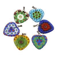 Millefiori Lampwork Anhänger, mit Zinklegierung Stiftöse, Herz, handgemacht, gemischte Farben, 26.50x24x3.50mm, Bohrung:ca. 2mm, verkauft von PC