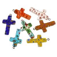 Millefiori Lampwork Anhänger, Kreuz, handgemacht, gemischte Farben, 19x36x3.50mm, Bohrung:ca. 2mm, verkauft von PC